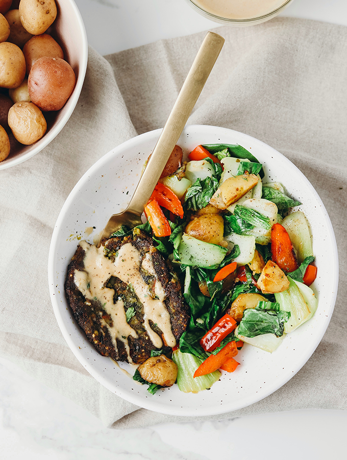Maple Mustard Veggie Burger Bowl