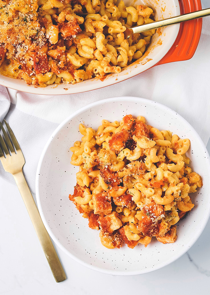 Vegan Buffalo Chick'n Mac & Cheese