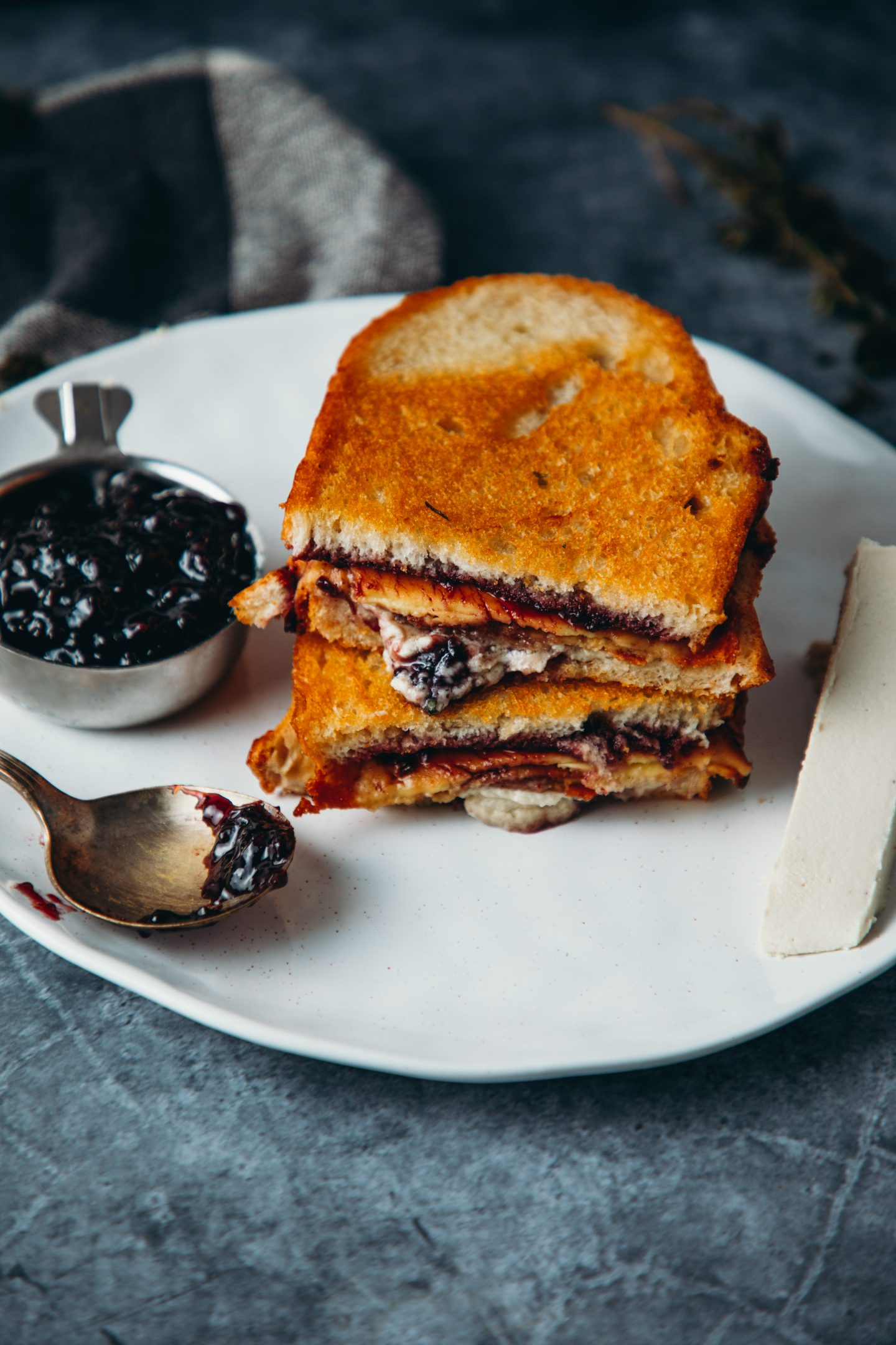 Blackberry Brie & Bacon Grilled Cheese